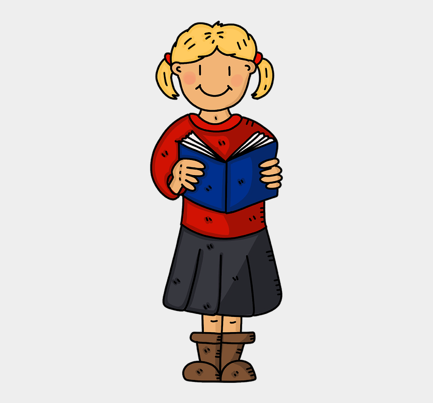 School Girl Book Reading Education Student School Cartoon Cliparts Cartoons Jing Fm