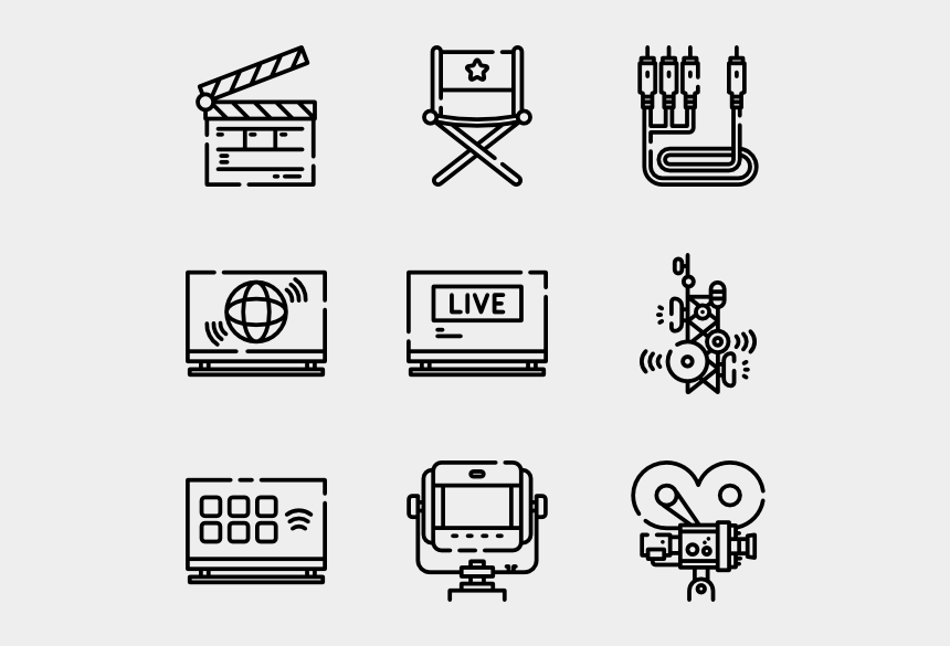 television clipart black and white, Cartoons - Vector Television Top View - Drawing Icons