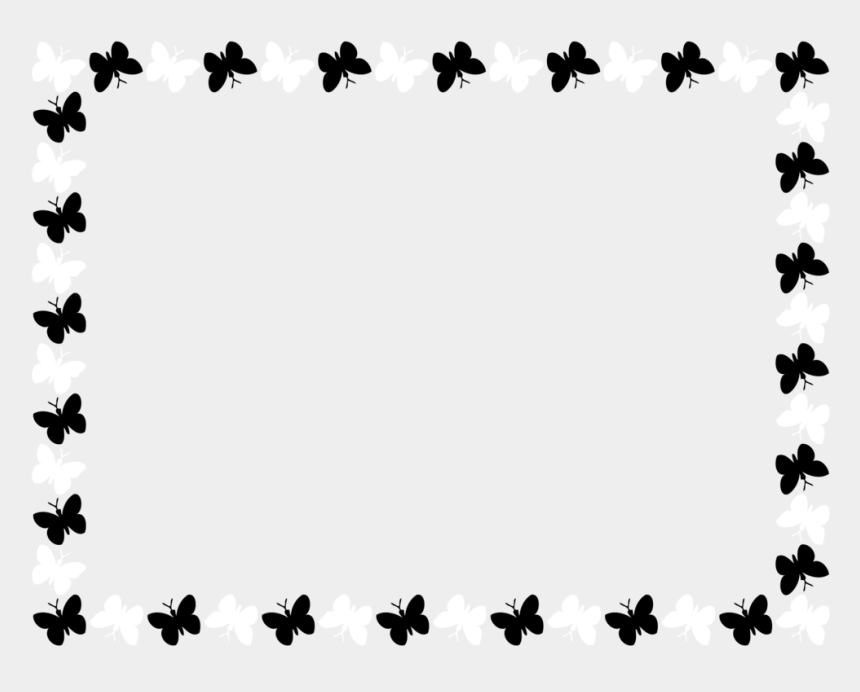 bbq clipart border, Cartoons - Borders And Frames Butterfly Drawing White Computer - Black And White Butterfly Border Design