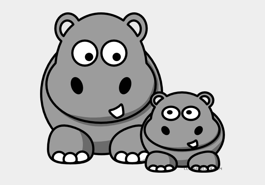 hippo clipart black and white, Cartoons - Clipartblack Com Animal Free Black White Images Ⓒ - Hippos Clipart