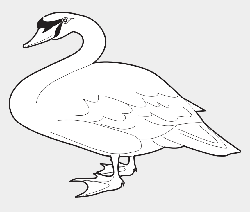 goose clipart black and white, Cartoons - Goose Clipart Black And White - White Long Neck Goose
