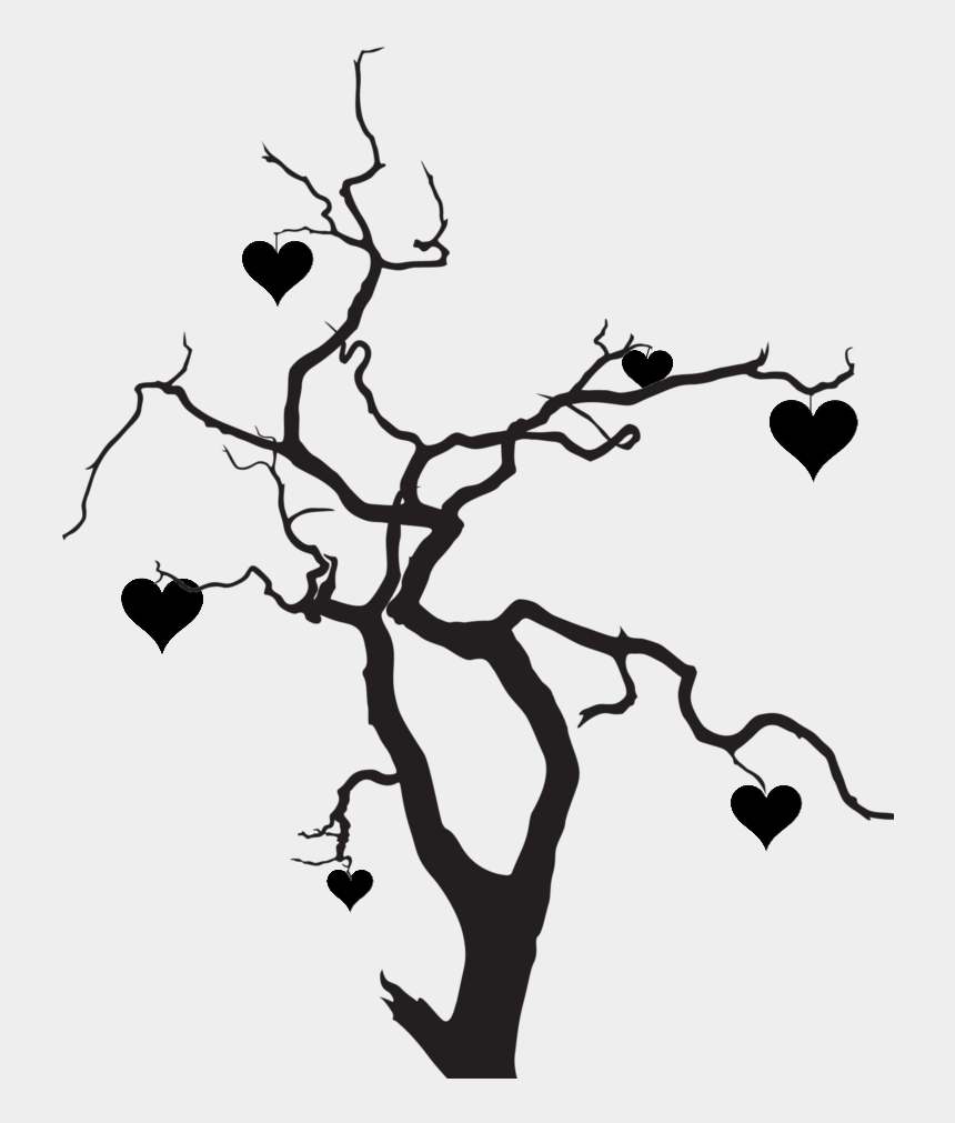 tree silhouette clipart, Cartoons - Clipart Heart Tree - Tree Love Silhouette Png