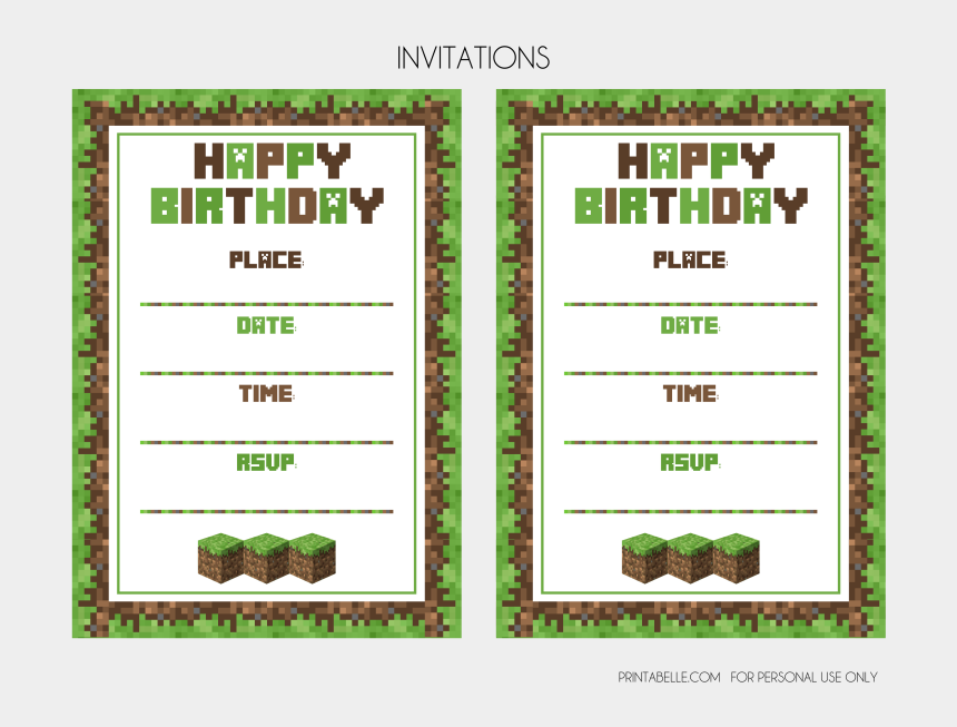 minecraft creeper clipart, Cartoons - Download The Minecraft Free Party Printables Here - Invitation Minicraft Card Birthday