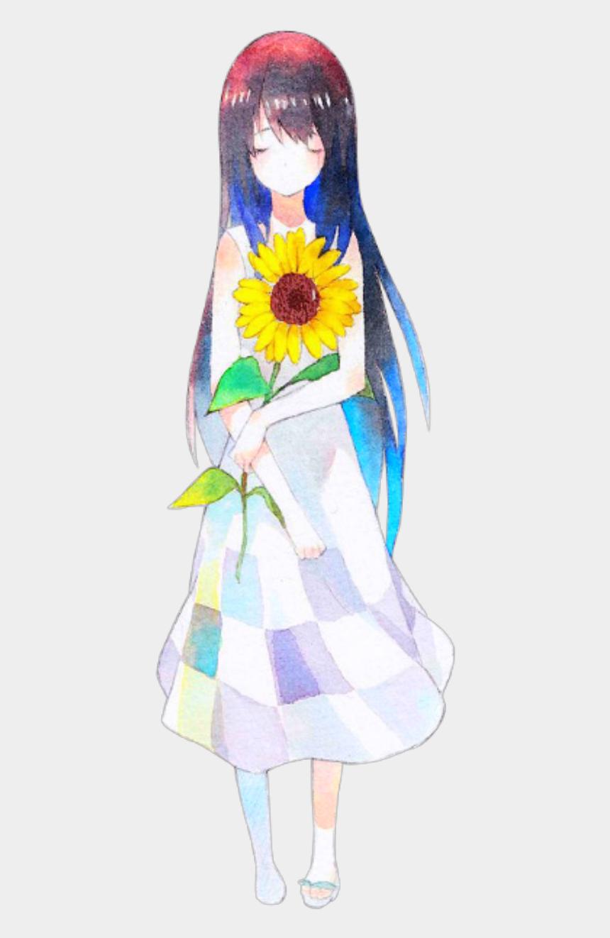 anime girl clipart, Cartoons - #ftestickers #clipart #anime #girl #sunflower - Sunflower Crown Drawing Girl