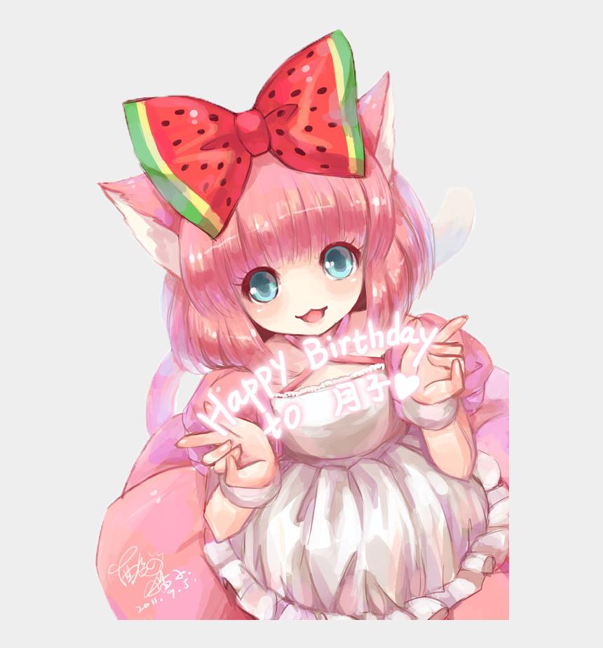 anime girl clipart, Cartoons - Anime Clipart Pink Cat - Kawaii Anime Girl Birthday