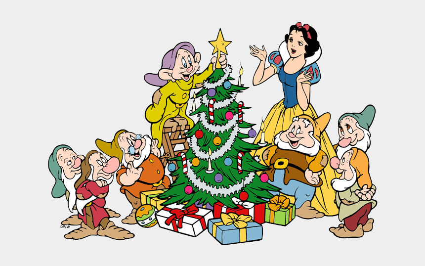 decorated christmas tree clipart, Cartoons - Dwarfs Decorating Christmas Tree - Snow White Dwarfs Clipart