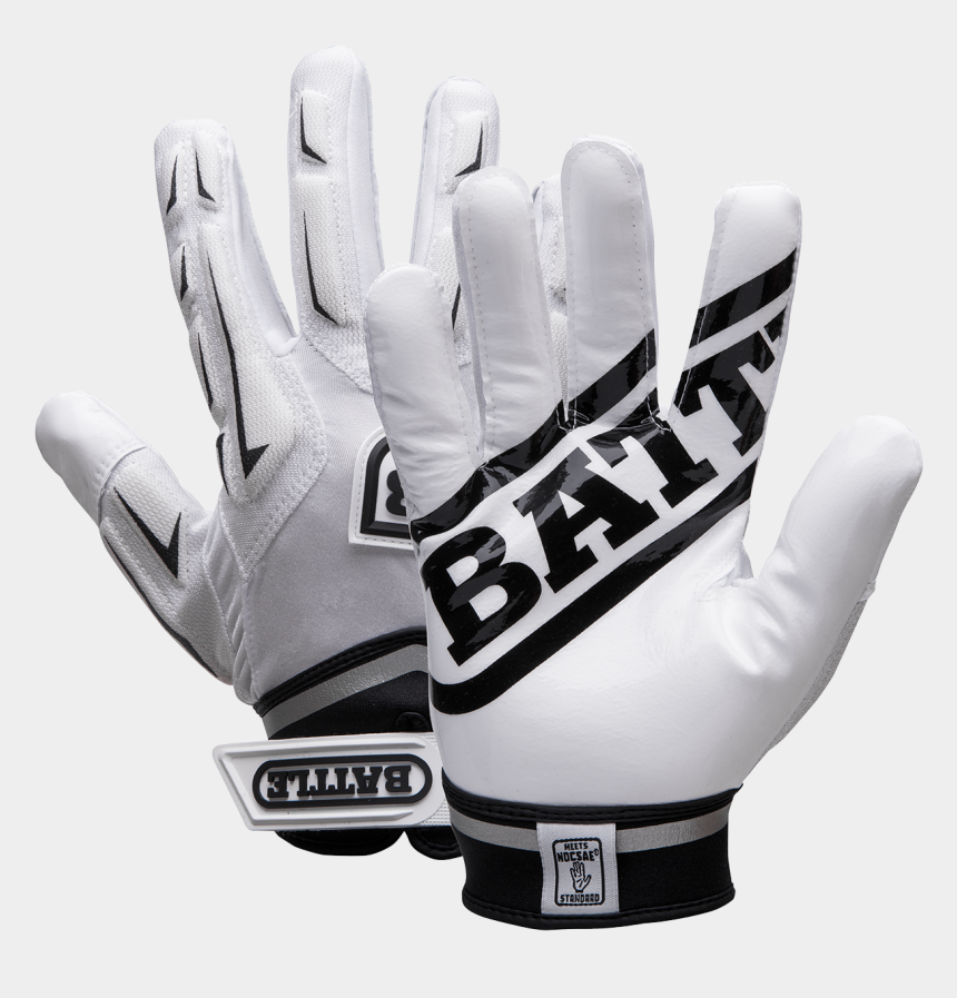baseball glove clipart black and white, Cartoons - Battle Adult Ultra-stick Hybrid Receivers Gloves, White/black - Football Gear