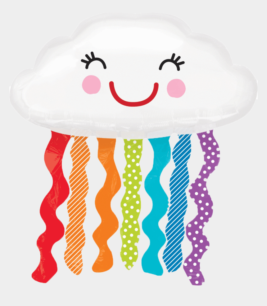 storm clouds clipart, Cartoons - Happy Cloud Balloon With Rain Streamers Instaballoons - Rain Cloud Balloon