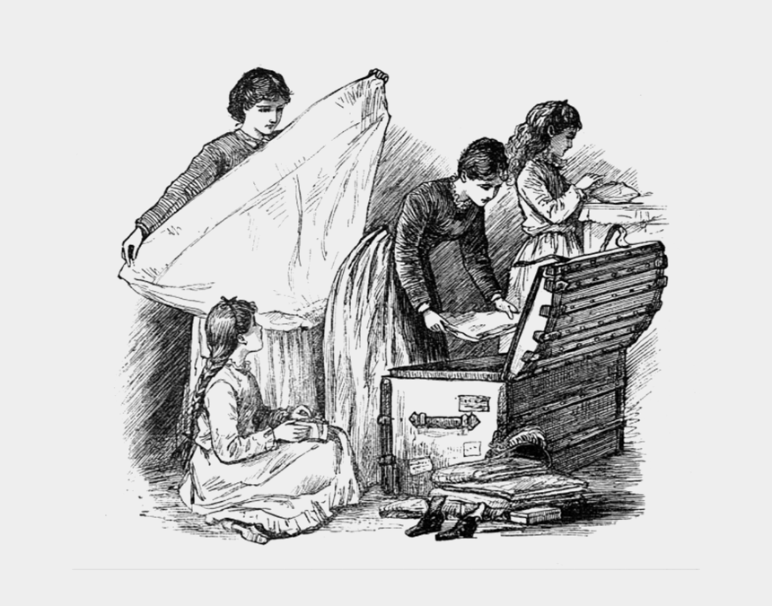 treasure chest clipart black and white, Cartoons - Little Women May Alcott Illustration