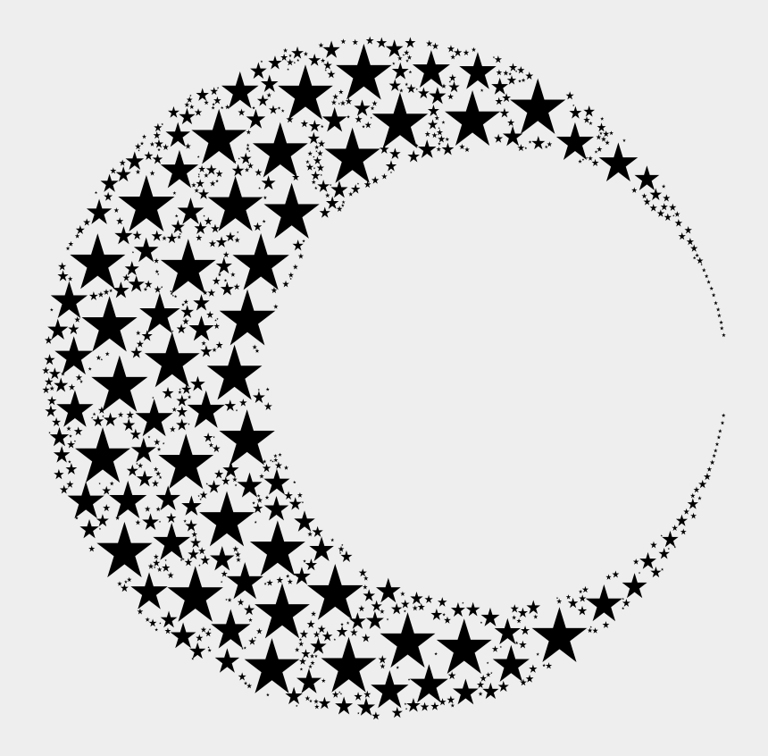 crescent moon clipart black and white, Cartoons - Moon Circle Crescent Abstract Art Black And White - Crescent Moon Of Stars