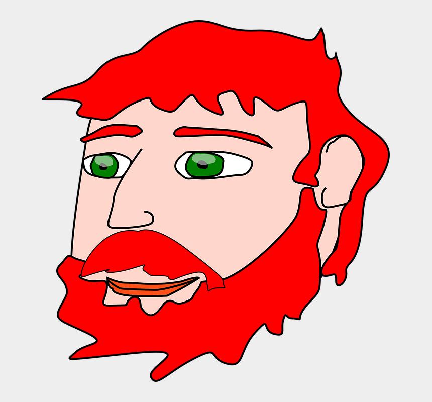 bearded man clipart, Cartoons - Man Red Headed Face Male Bearded - Red Hair Clip Art