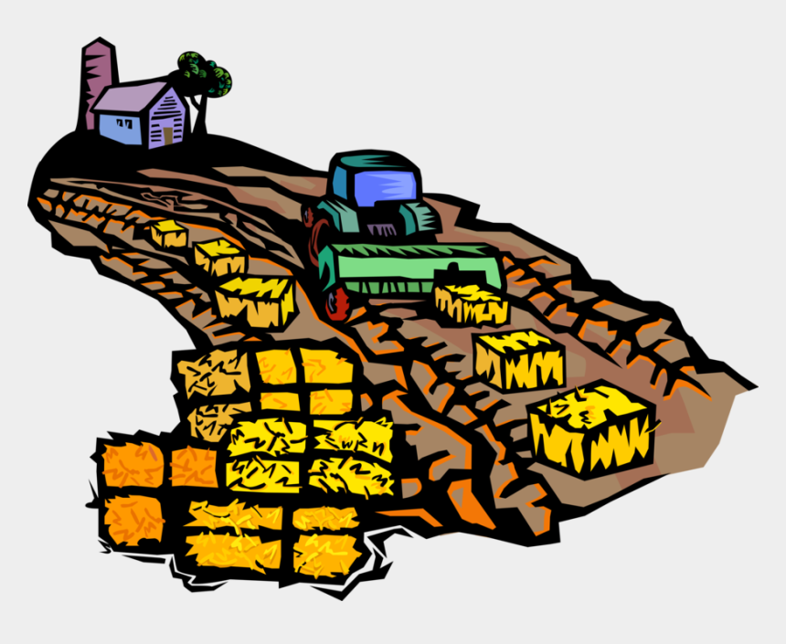 farmer on tractor clipart, Cartoons - Vector Illustration Of Farmer Creating Harvested Alfalfa