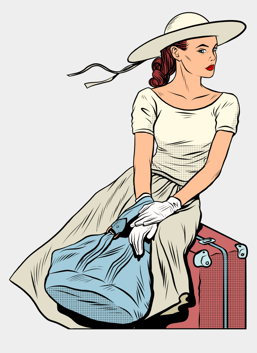 traveler clipart, Cartoons - Airplane Travel Airport Pop Art - Travel Woman Clipart