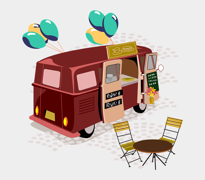 food truck clipart, Cartoons - Stalls, Food Truck, Moving Sale, Cafe, Outdoors - Food Truck Party Invitation