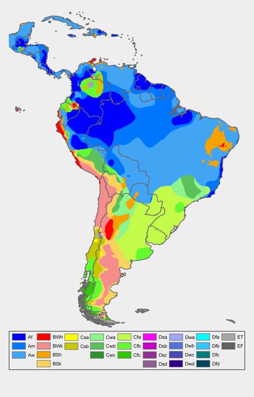 south america clipart, Cartoons - South America Köppen Map - Koppen Climate Map South America