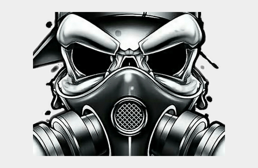 Drawn Gas Mask Gangster - Gas Mask Skull Drawing, Cliparts