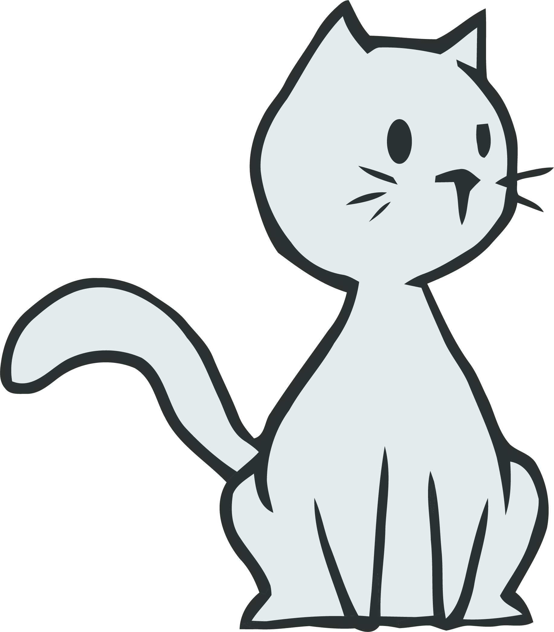 Thinking Cat Clipart Png Easy To Draw Cartoon Cats Transparent Cartoon Jing Fm
