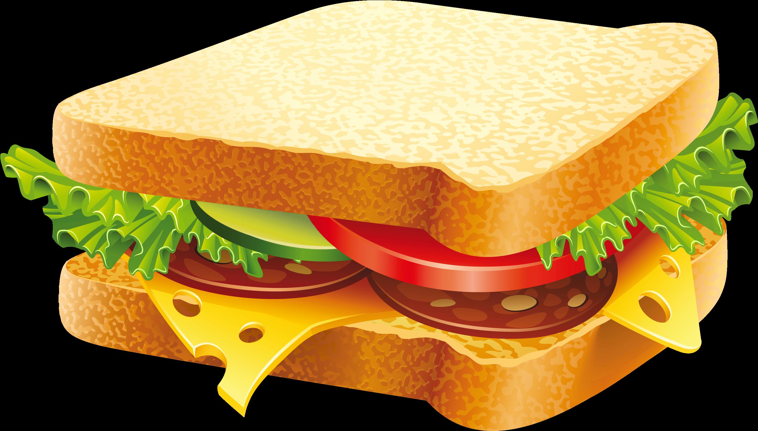 Transparent food clipart - Sandwich Png Clipart Image - Fast Food Images Download