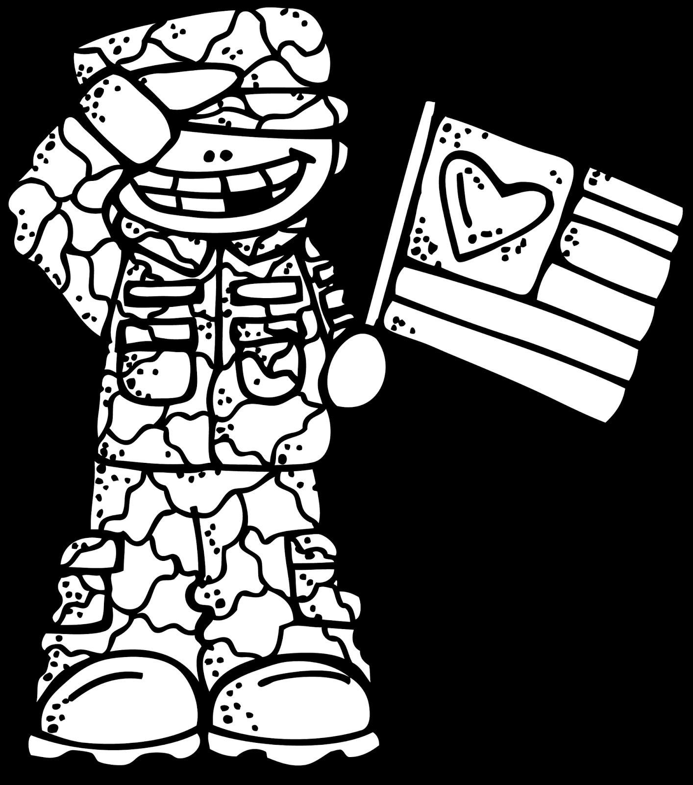 Military Clipart Melonheadz - Veteran Clip Art Black And