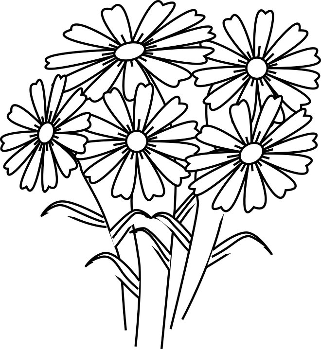 Transparent flowers clipart black and white - Five Flowers Clipart Black And White