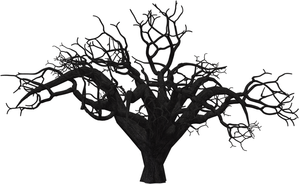 Dead Trees Black And White Silhouette Download - Scary Tree