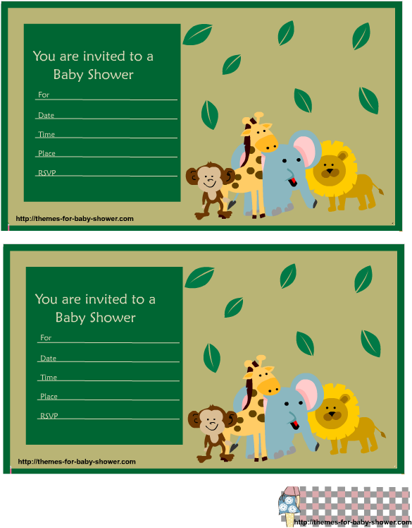 Baby Shower Invitations Imprimir Safari Tarjetas De