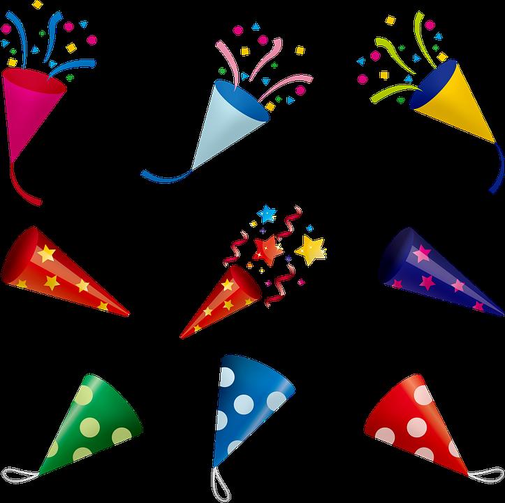 Transparent confetti clip art - Balloons Confetti Celebration Birthday Fun - パーティー クラッカー イラスト 素材