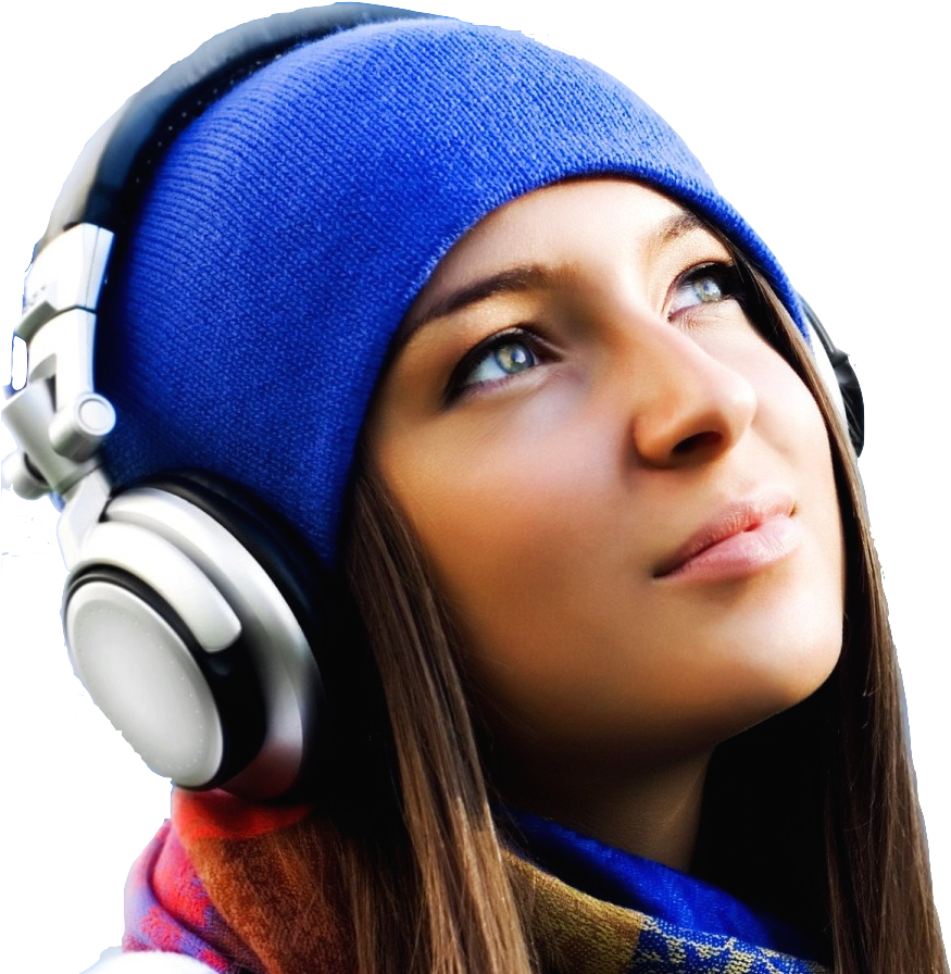 Transparent girl listening to music clipart - Listening To Music T - Listening To Music