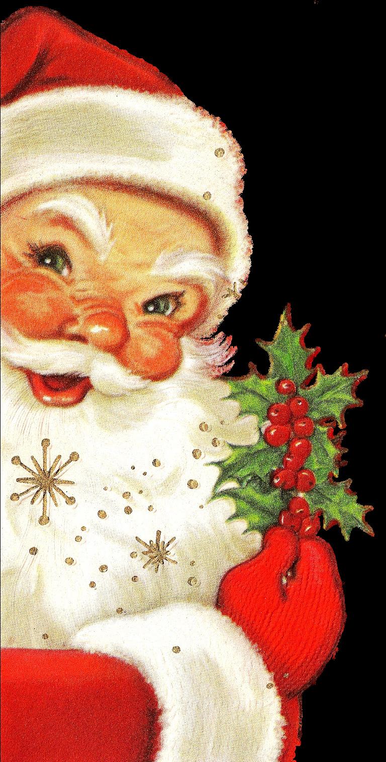 Transparent peek clipart - Christmas Father Png - Vintage Santa Merry Christmas