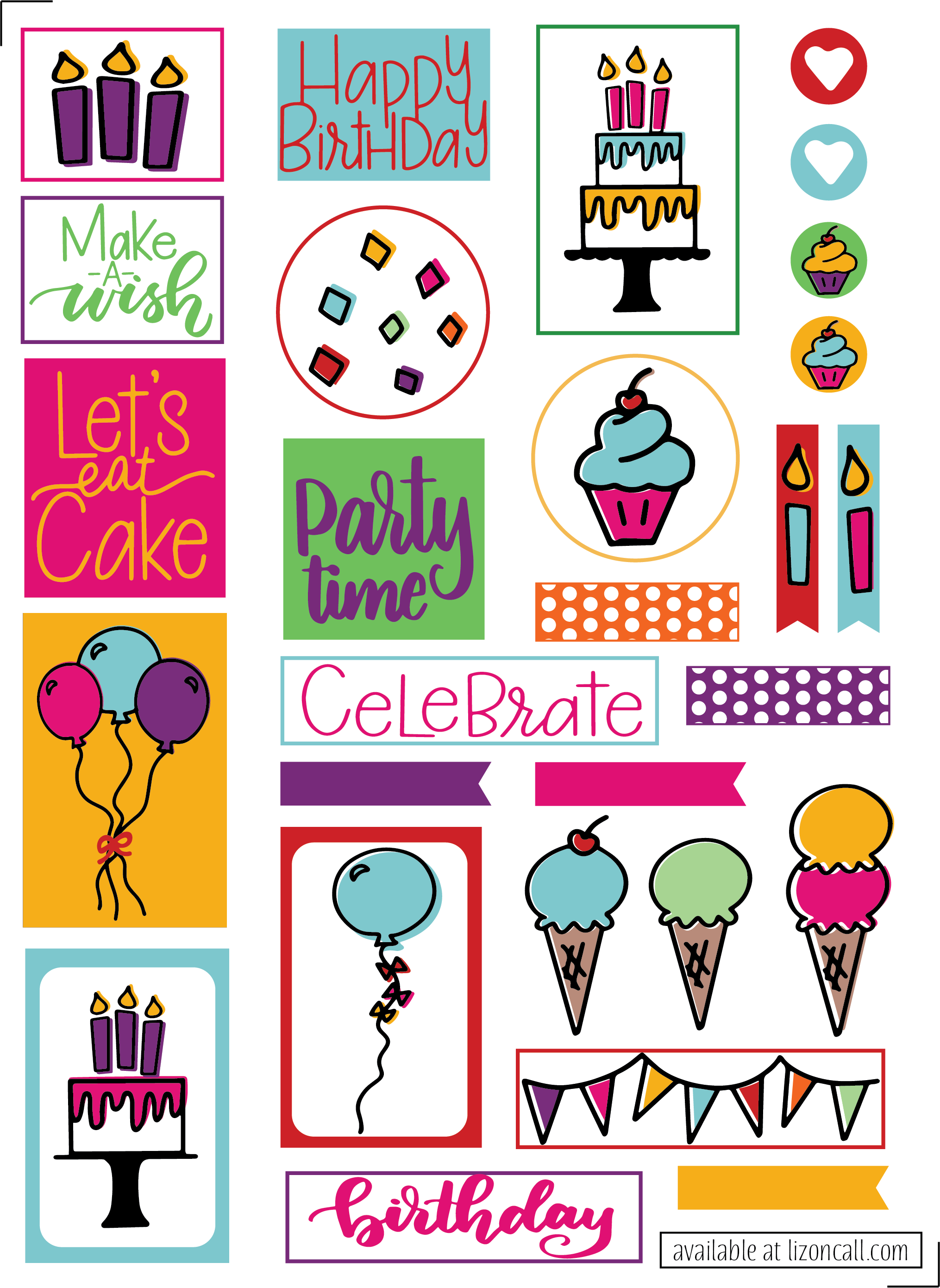 photo regarding Birthday Clipart Free Printable known as Totally free Birthday Planner Stickers - Printable Joyful Birthday