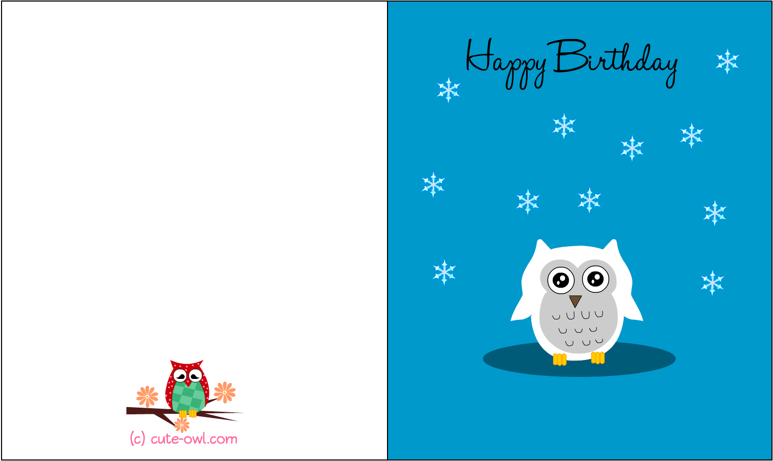 graphic about Birthday Clipart Free Printable titled No cost Printable Lovely Owl Birthday Playing cards - Lovable Pleased Birthday