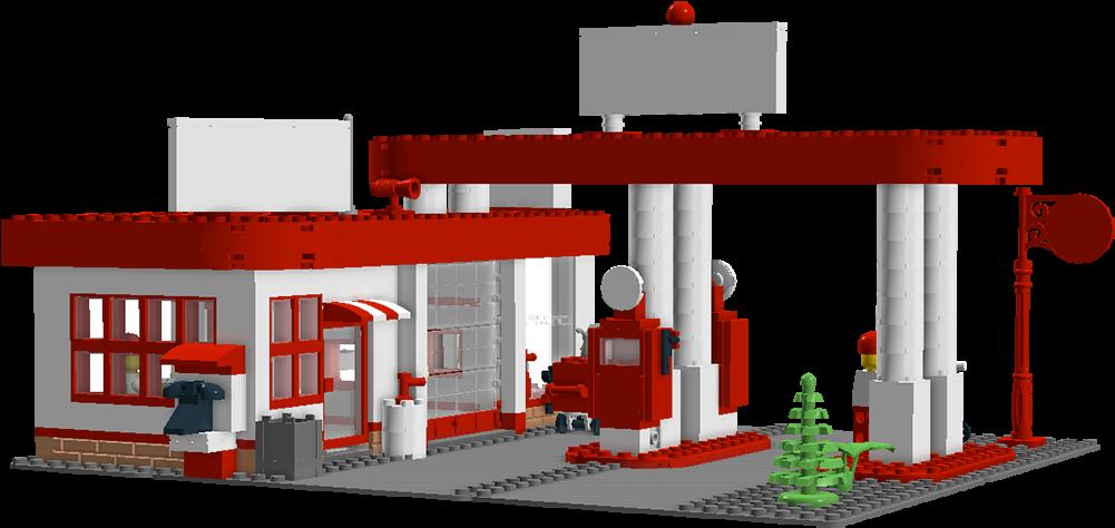 Transparent lego clip art - Gas - Gas Station Building Clipart