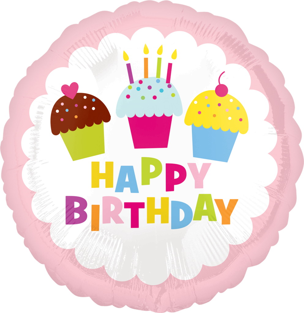 Transparent clipart birthday cake and balloons - 32692 18″ Happy Birthday Cupcake - Birthday Party