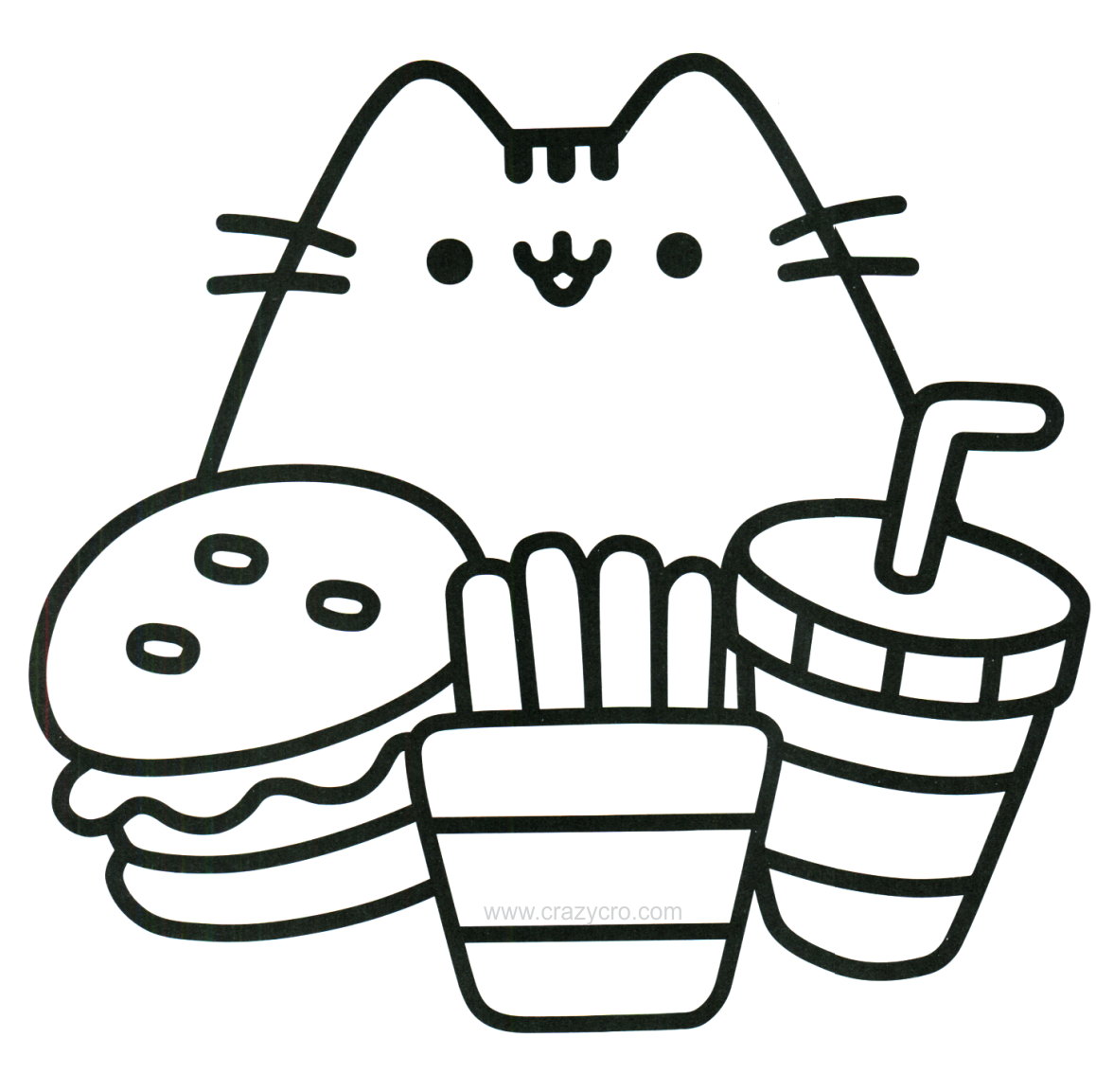Food Coloring Page Cat With Food Coloring Page Free Cute