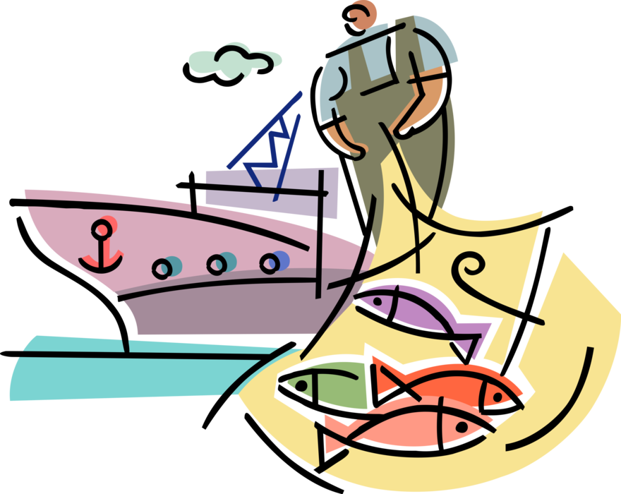 Transparent industry clipart - Vector Illustration Of Commercial Fishing Industry - Fishing Industry Clipart