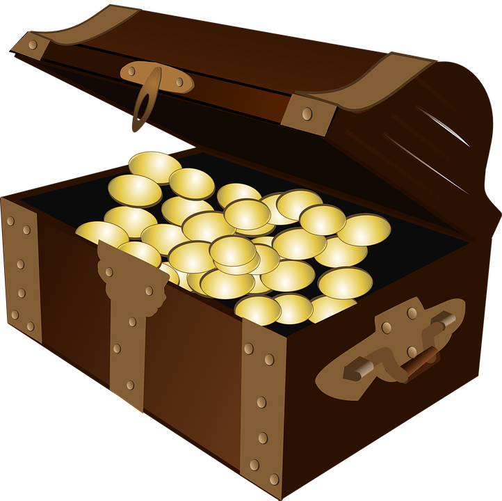 Transparent gold coins clipart - Open Treasure Chest Clipart