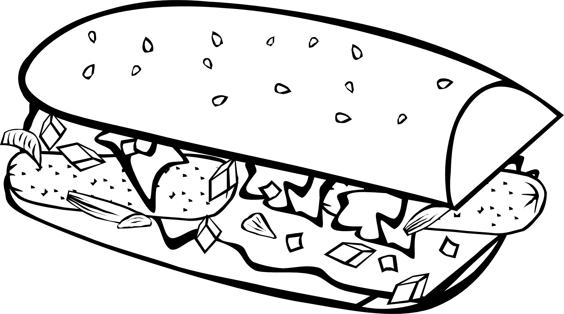 fast food breakfast sub sandwich sandwich png black and white transparent cartoon jing fm fast food breakfast sub sandwich