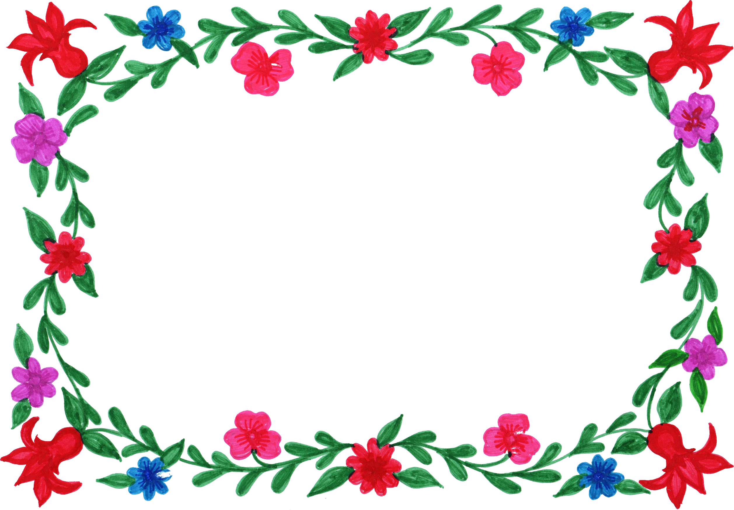 Flower Frame Colorful Png Transparent Onlygfx