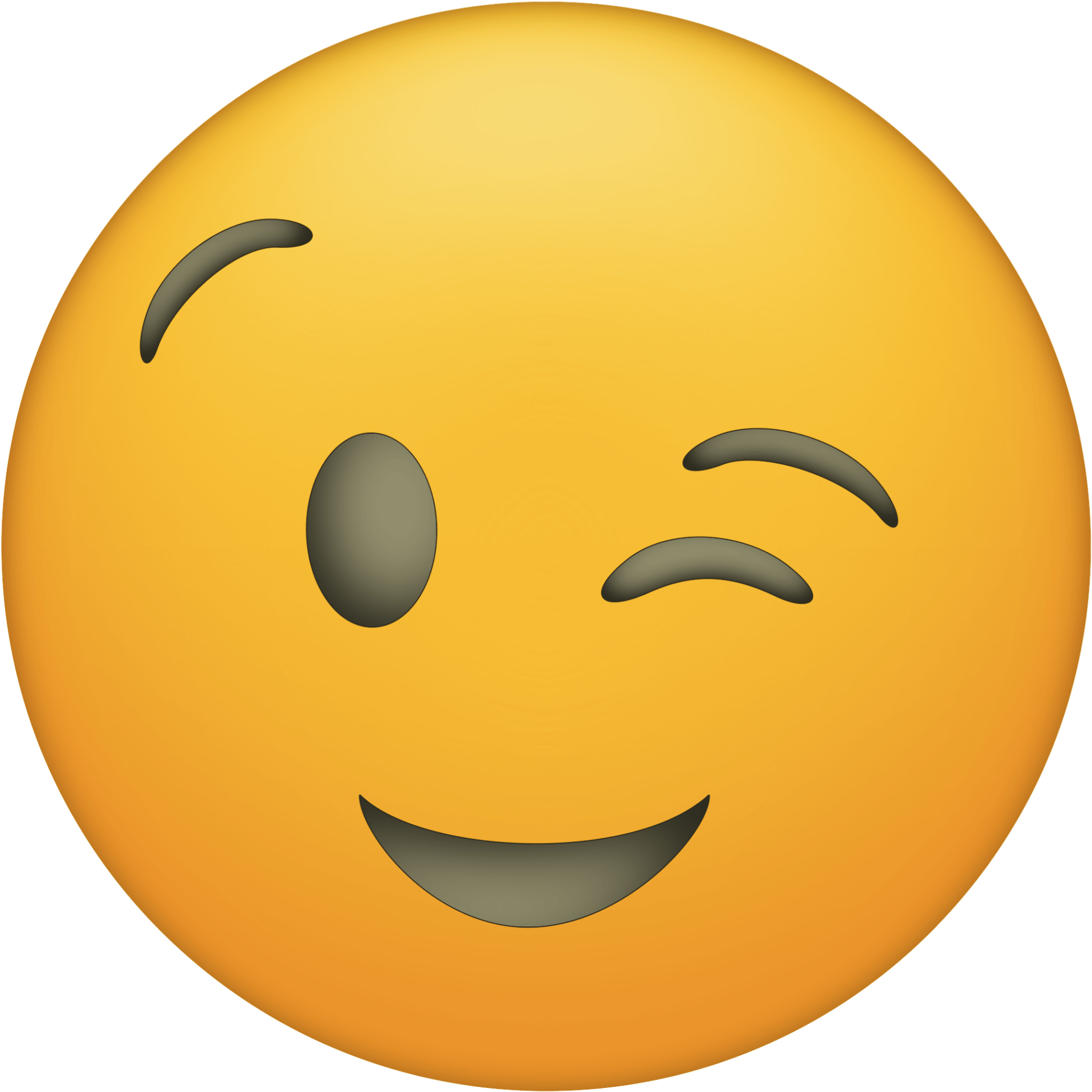 Transparent huge smile clipart - Click The Following Links To Print The Emoji Faces - Winky Face Emoji Png