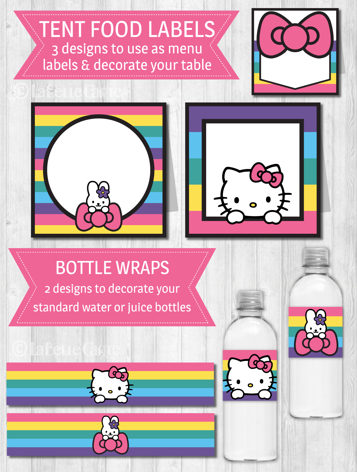 Transparent hello kitty bow clipart - Hello Kitty Party Decor Pack - Hello Kitty Happy Birthday Letter Banner Printable