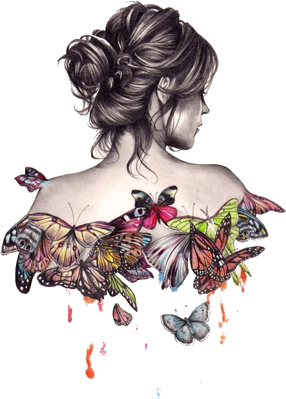 Painting Sketch Art Drawing Free Download Png Hd Girl Sketch With Butterflies Transparent Cartoon Jing Fm