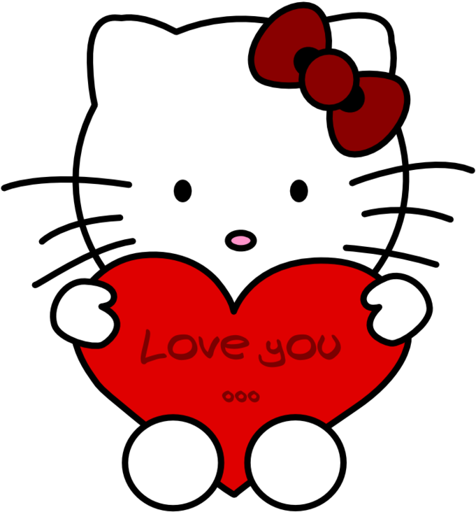 Love You Hello Kitty By Erysfoly D34x2jd Easy Best Colour Drawing Transparent Cartoon Jing Fm