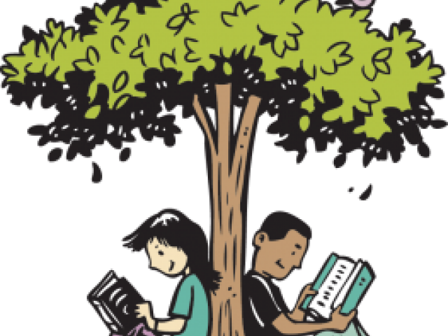 Two children resting under the book covered branches of a large tree Stock  Photo - Alamy