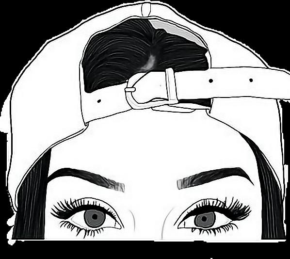 Tumblr Tumblrgirl Sticker Eyes Hat Freetoedit Drawings To Trace Girls Transparent Cartoon Jing Fm