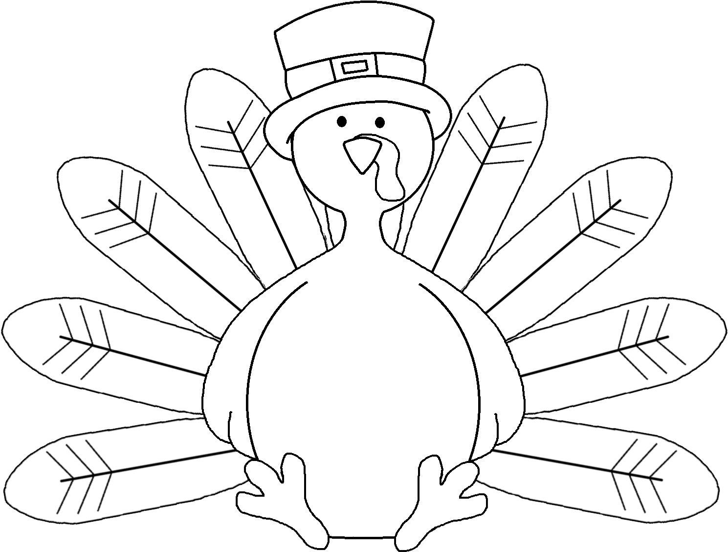 Transparent turkey dinner clipart black and white - Coloring Pages Turkey - Thanksgiving Turkey Clip Art Black And White
