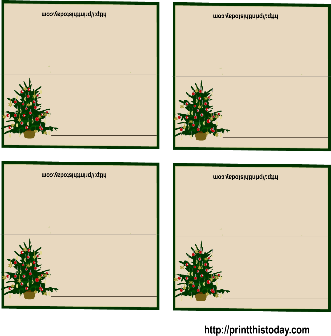 picture regarding Free Printable Christmas Place Cards identify No cost Printable Xmas Tree Spot Playing cards Xmas - Free of charge