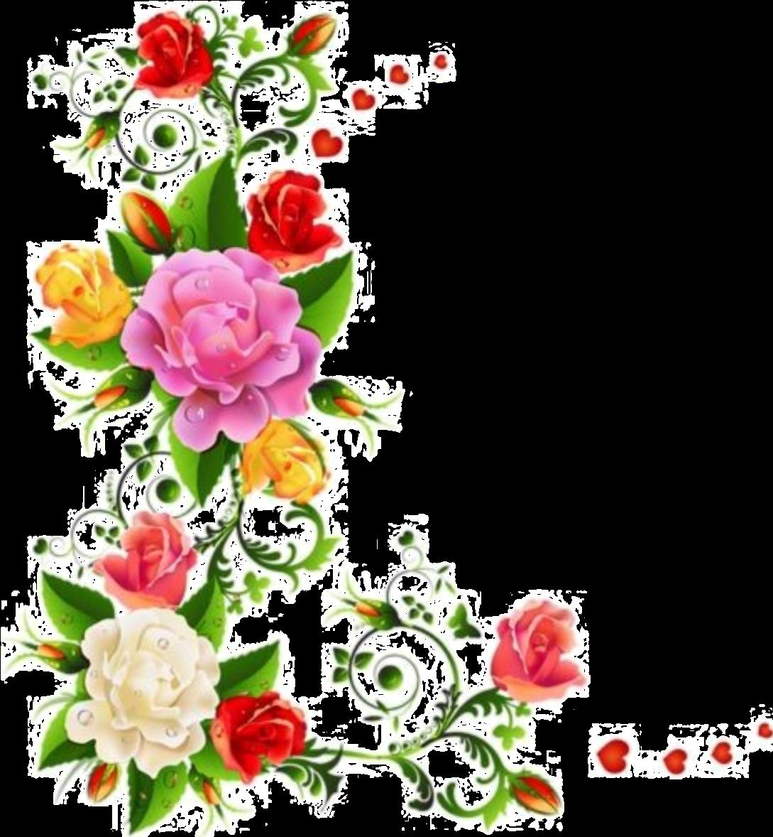 Transparent flower clipart borders - Galería Vintage Wreath, Rose Clipart, Flower Clipart, - Colorful Flower Border Design