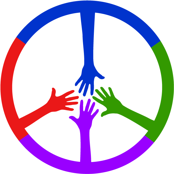 Transparent colored hands clipart - 4 Colored Hands Coming Together To Form A Peace Sign - Range Rover Classic Steering Wheel