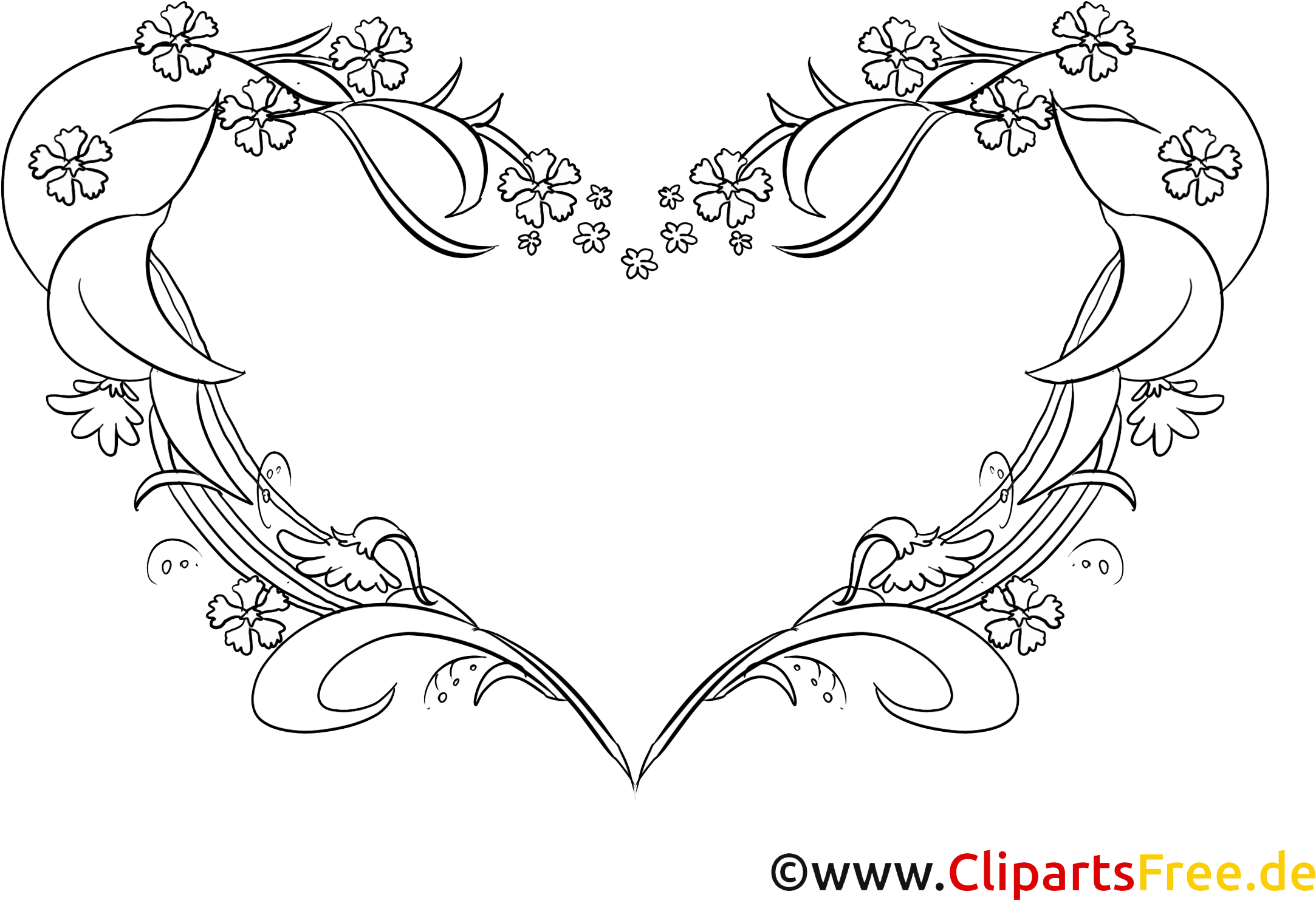 Coloriage Dessins Coeur Clipart Gratuit Line Art Transparent