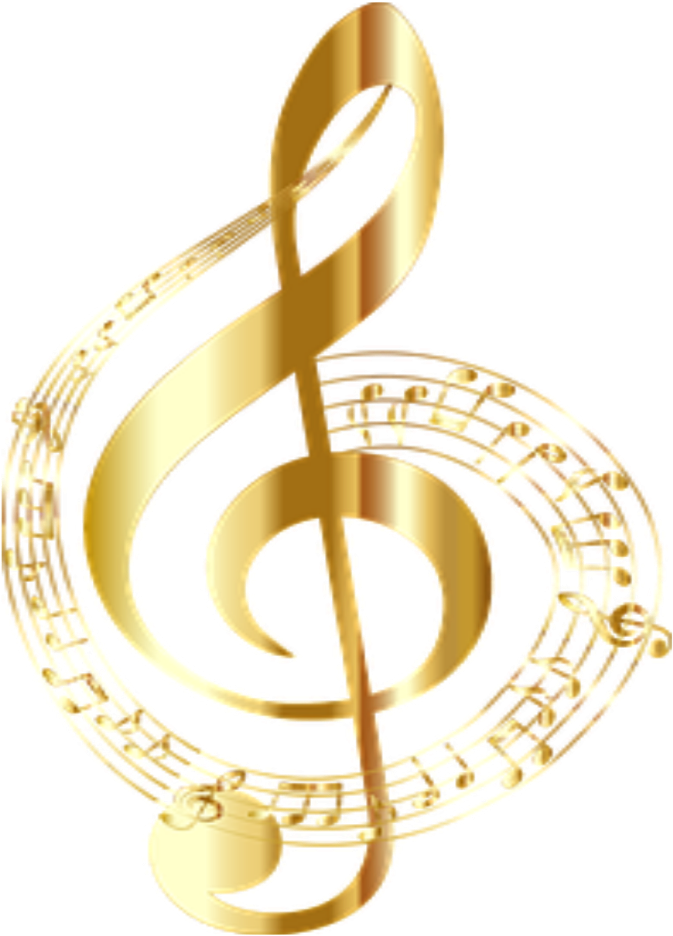 Transparent gold music notes clipart - #music #notes #musicnotes #gold - Clave De Sol Png
